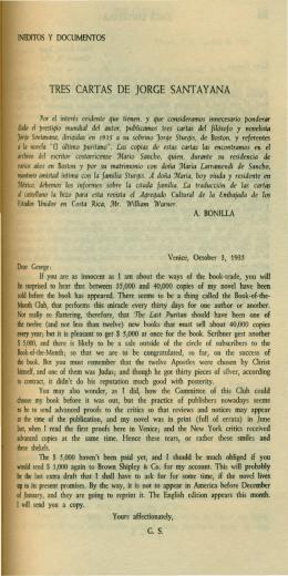 Tres cartas de Jorge Santayana. Jorge Santayana