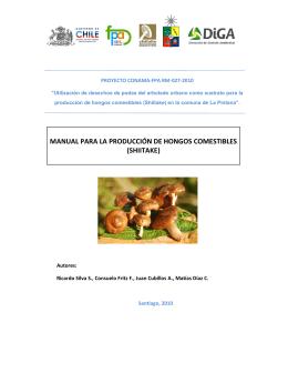 manual para la producción de hongos comestibles (shiitake)
