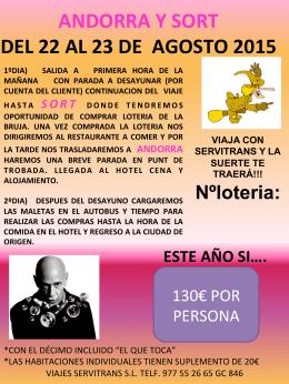 ANDORRA Y SORT DEL 22 AL 23 DE AGOSTO 2015