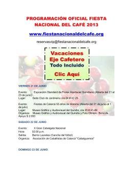 PROGRAMACIÓN OFICIAL FIESTA NACIONAL DEL CAFÉ 2013