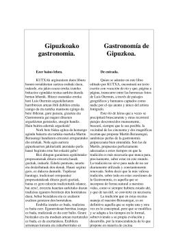 Gipuzkoako gastronomia. Gastronomía de Gipuzkoa.