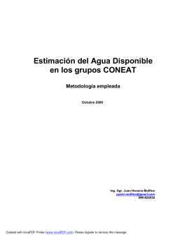 Estimación del Agua Disponible en los grupos CONEAT