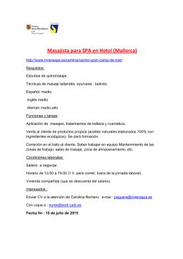 Masajista para SPA en Hotel (Mallorca)
