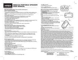 HMDX-S5 PORTABLE SPEAKER USER MANUAL