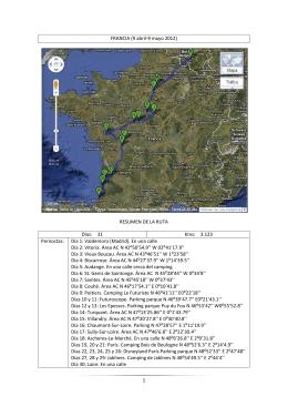 1 FRANCIA (9 abril-9 mayo 2012) RESUMEN DE LA RUTA Días: 31
