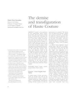 Óbito y transfiguración de la Alta Costura