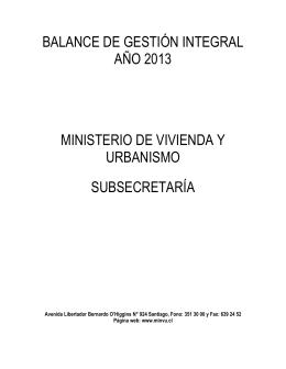 balance de gestión integral año 2013 ministerio de vivienda y
