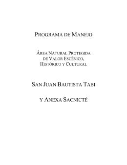 PROGRAMA DE MANEJO SAN JUAN BAUTISTA TABI Y