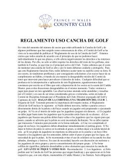 REGLAMENTO USO CANCHA DE GOLF