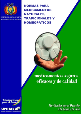 Normas para Medicamentos Naturales, Tradicionales y Homeopáticos