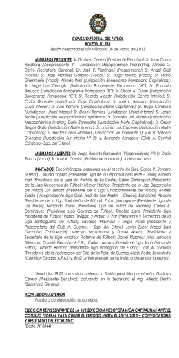 CONSEJO FEDERAL DEL FUTBOL BOLETIN N° 586 Sesión