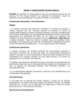 BASES Y CONDICIONES PILSEN MUSICA PILSEN (en adelante