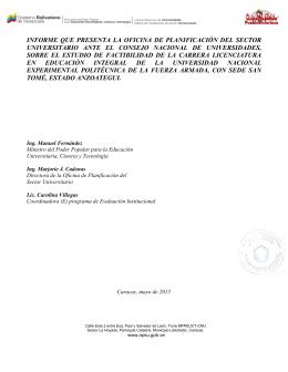 informe que presenta la oficina de planificación del sector