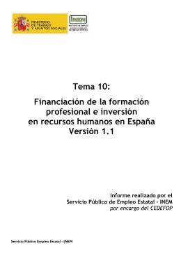 Tema 10: Financiación de la formación profesional e inversión en