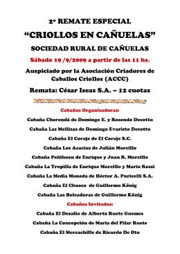 """""""CRIOLLOS EN CAÑUELAS"""" - Asociación Criadores de Caballos"""