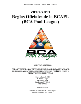 Reglas Oficiales de la BCAPL (BCA Pool League)