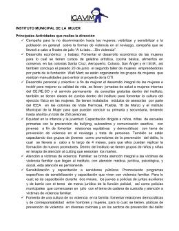 INSTITUTO MUNICIPAL DE LA MUJER Principales Actividades que