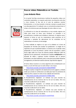 Buscar videos Matemáticos en Youtube. Jose Antonio Mora
