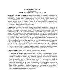 SORTEO MI TELEMUNDO Reglas oficiales Del 1 de julio de 2014 al