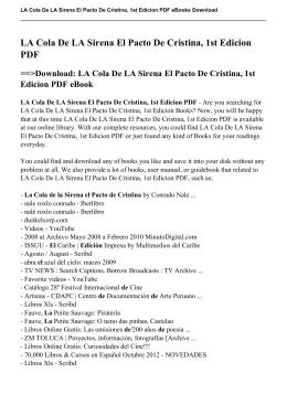 LA Cola De LA Sirena El Pacto De Cristina, 1st Edicion PDF eBook