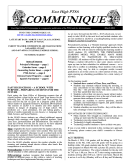 COMMUNIQUE - East High School - Salt Lake City School District