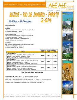 Programa incluye: BUZIOS • 03 noches de alojamiento