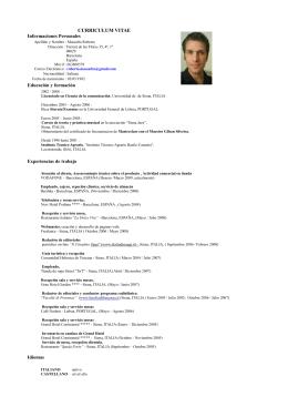 CURRICULUM VITAE Informaciones Personales