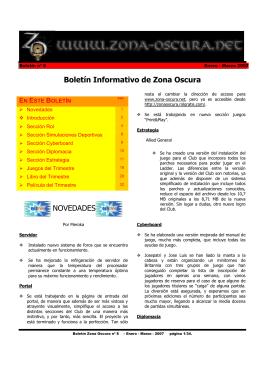 Boletín Informativo de Zona Oscura NOVEDADES - Inicio