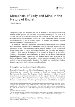 Metaphors of Body and Mind in the History of English