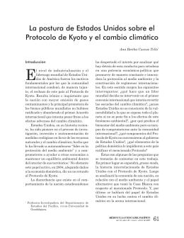 La postura de Estados Unidos sobre el Protocolo de Kyoto y el