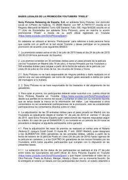 """BASES LEGALES DE LA PROMOCIÓN YOUTUBERS """"PIXELS"""