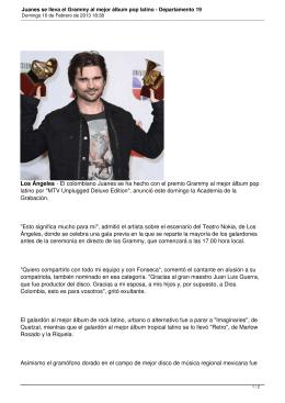 Juanes se lleva el Grammy al mejor álbum pop