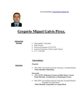 Curriculum Gregorio Galvis