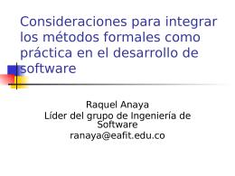 Consideraciones para integrar los métodos formales como prácti