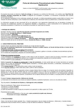 Ficha de Información Precontractual sobre Préstamos Hipotecarios