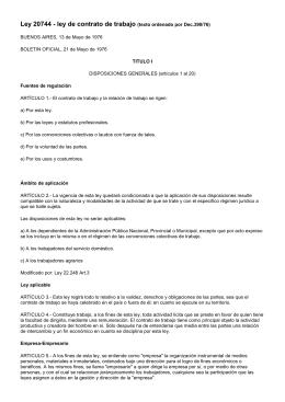 ley 20744 - ley de contrato de trabajo (texto ordenado por Dec