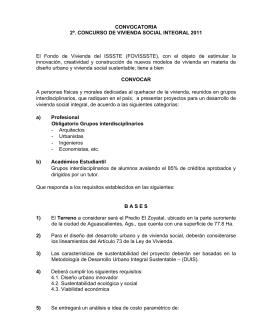 CONVOCATORIA 2º. CONCURSO DE VIVIENDA