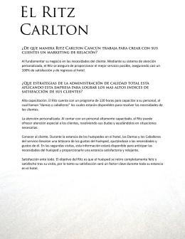 El Ritz Carlton - Apuntes de trabajo en grupo