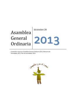 Asamblea General Ordinaria - Asociación Chiquillos y en el Campo