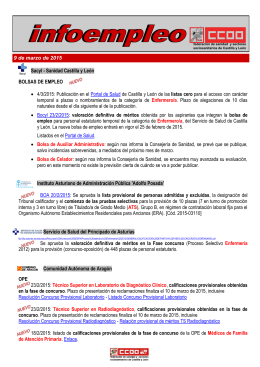 X Sacyl - Sanidad Castilla y León BOLSAS DE EMPLEO • 4/3/2015