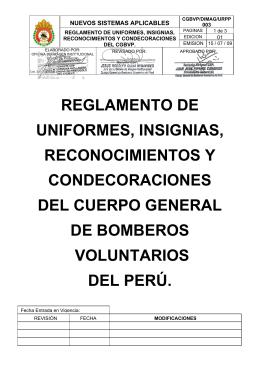 Reglamento de uniformes, insignias, reconocimientos y