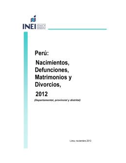 Perú: Nacimientos, Defunciones, Matrimonios y Divorcios, 2012