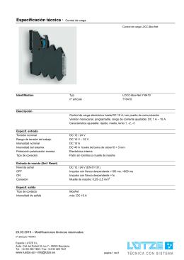 Especificación técnica · Control de carga
