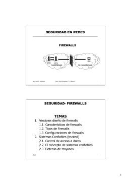 SEGURIDAD EN REDES SEGURIDAD- FIREWALLS 1. Principios