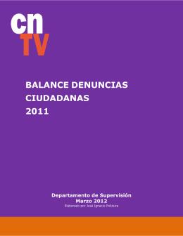BALANCE DENUNCIAS CIUDADANAS 2011