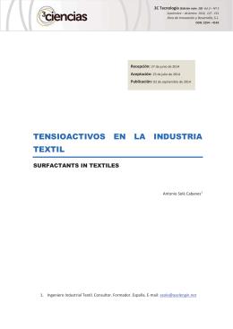 TENSIOACTIVOS EN LA INDUSTRIA TEXTIL