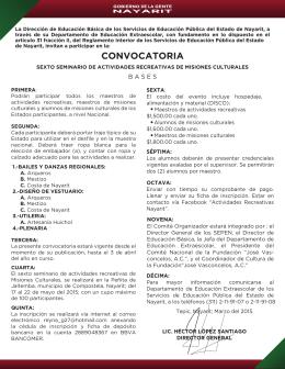 Convocatoria. - Servicios de Educación Pública del Estado de Nayarit