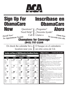 Sign Up For ObamaCare Now Inscríbase en ObamaCare Ahora