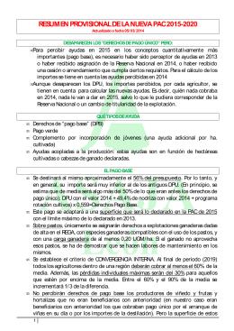 RESUMEN PROVISIONAL DE LA NUEVA PAC 2015-2020