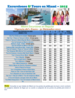 Excursiones & Tours en Miami – 2015